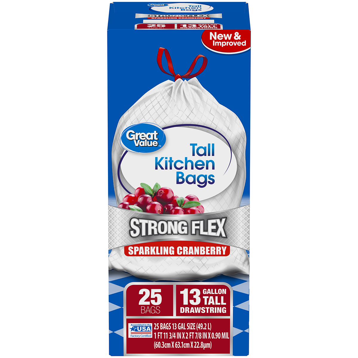 (Pack of 2) Great Value Strong Flex Tall Kitchen Drawstring Trash Bags, Sparkling Cranberry, 13 Gallon, 25 Count