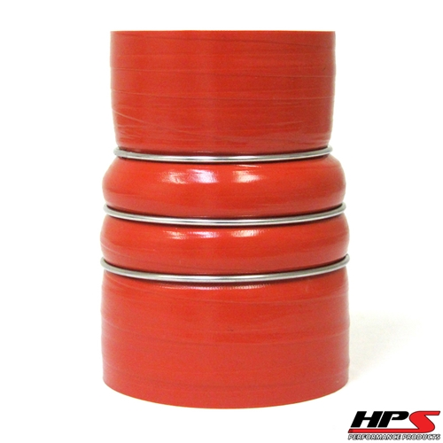 """HPS High Temp 2.5"""" > 3.5"""" ID x 6"""" Long 4-ply Aramid Reinforced Silicone CAC Coupler Hose Hot Side (63mm > 89mm ID x 152mm Length)"""