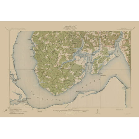 Topographic Map Nanjemoy Maryland Quad Usgs 1913 33 26 X 23