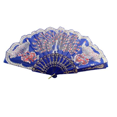 Chinese Style D Ring Detail Ribs Peacock Pattern Folded Hand Fan Blue](Chinese Hand Fan)