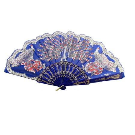 Blue Hand Fan (Chinese Style D Ring Detail Ribs Peacock Pattern Folded Hand Fan)