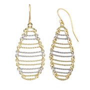 Fremada  10k Two-tone Gold Textured Oval Ladder Dangle Earrings