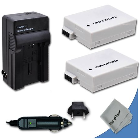 2 High Capacity Replacement Canon LP-E8 Batteries with AC/DC Quick Charger Kit for Canon EOS Rebel T3i DSLR Camera ()