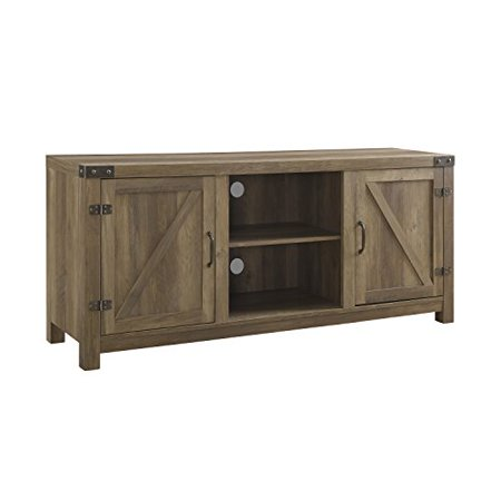 ModHaus Living Modern Rustic 2 Door Media Cabinet TV Stands with Adjustable Shelves - Includes Pen (Brown)