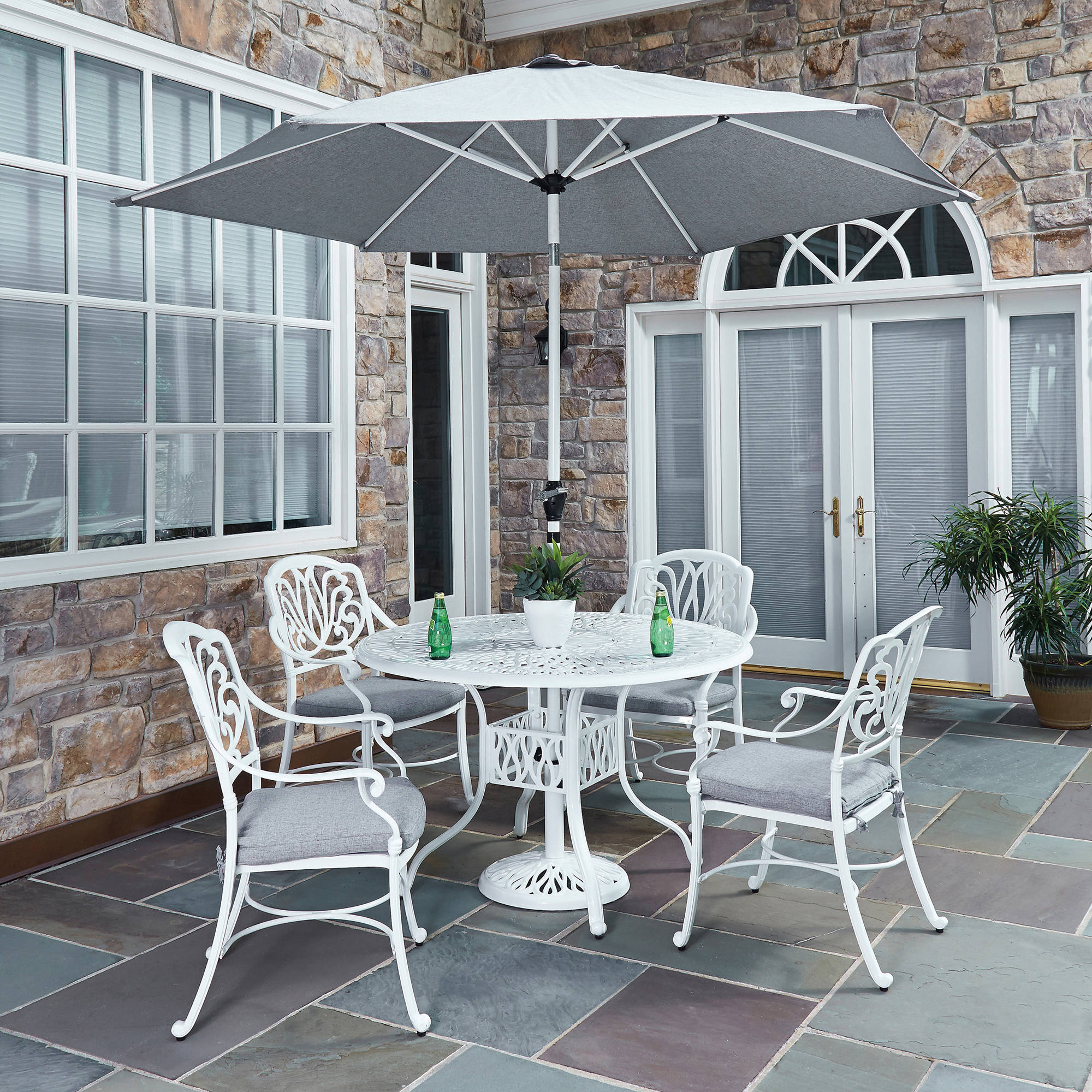 Floral Blossom 5-Pc Outdoor Dining Set with Umbrella
