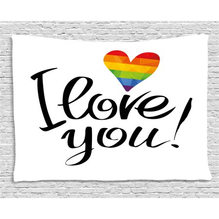 Pride Decorations Tapestry, I Love You Letters with Polygonal Rainbow Color Heart Gay Lesbian Couples, Wall Hanging for Bedroom Living Room Dorm Decor, 60W X 40L Inches, Multicolor, by - I Love You Decorations