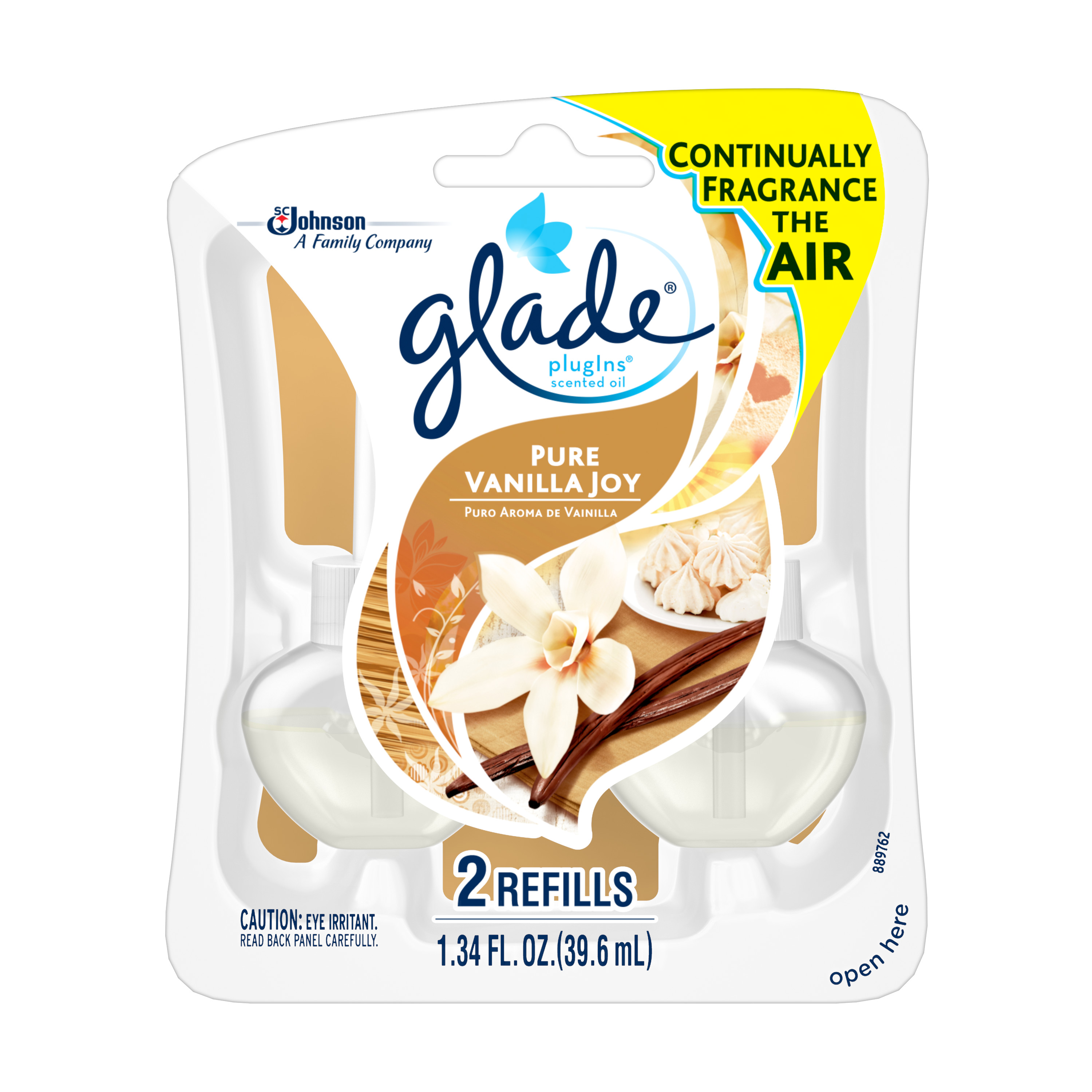 Glade PlugIns Scented Oil Air Freshener Refill, Pure Vanilla Joy, 2 count, 1.34 Ounces