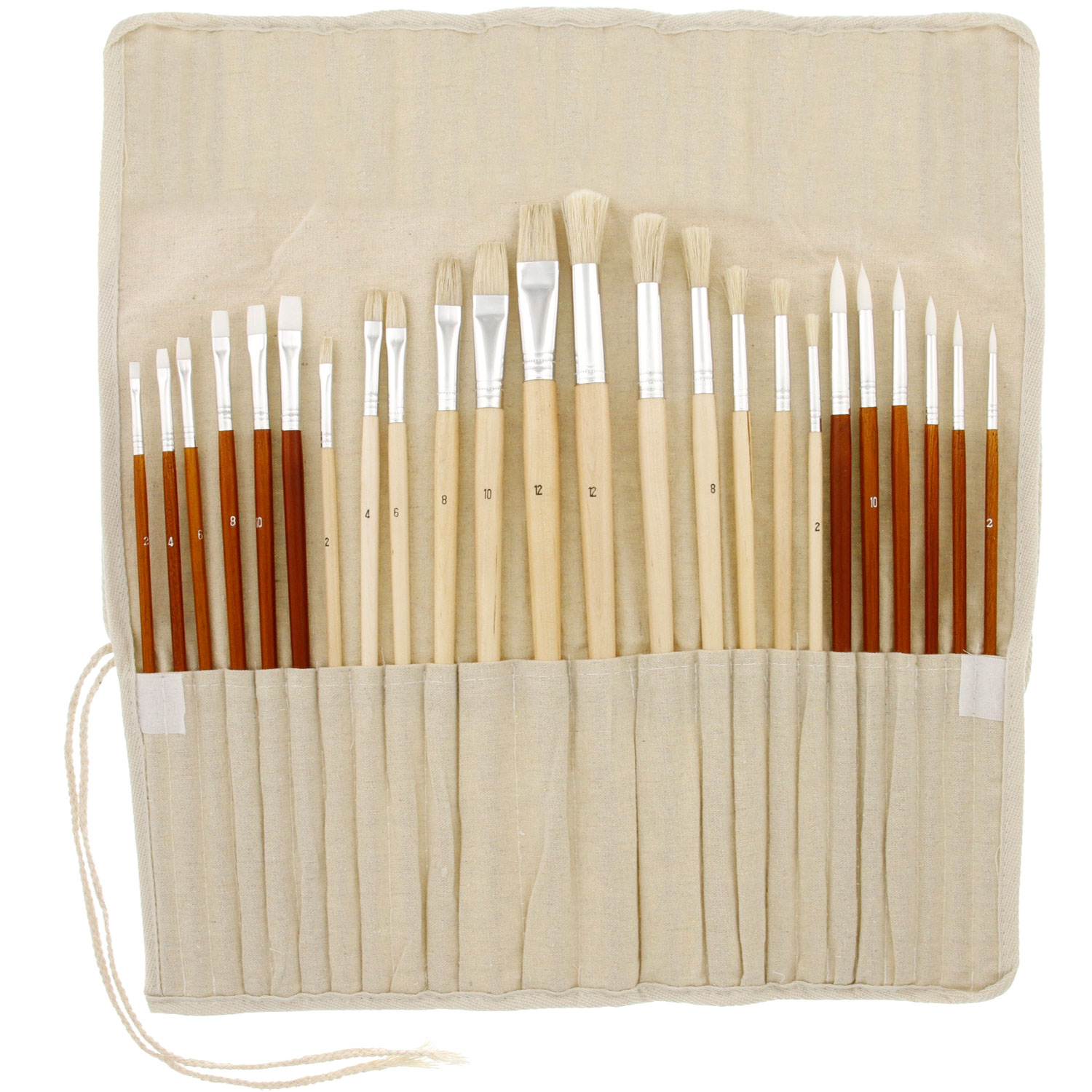 US Art Supply 24pc Oil & Acrylic Paint Long Handle Brush Set FREE Canvas Roll-Up