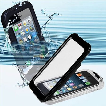 CyberTech Waterproof Phone Case for iPhone 5, 5C, 5S, Shockproof, Dirt Proof, Silicon Touch Screen Case (Black) ()
