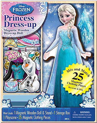Bendon 06700 Disney Frozen Elsa 25-Piece Wooden Magnetic Doll Dress-Up Kit by
