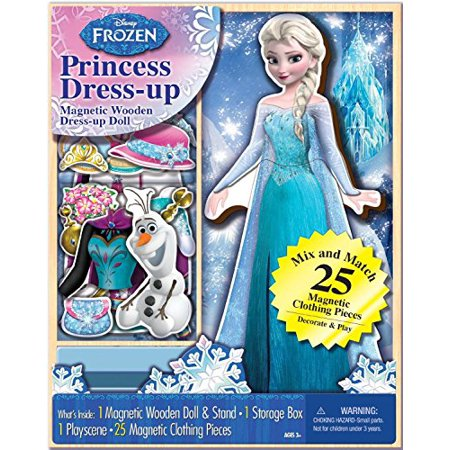 Bendon 06700 Disney Frozen Elsa 25-Piece Wooden Magnetic Doll Dress-Up Kit (Elsa Dress From Frozen Movie)