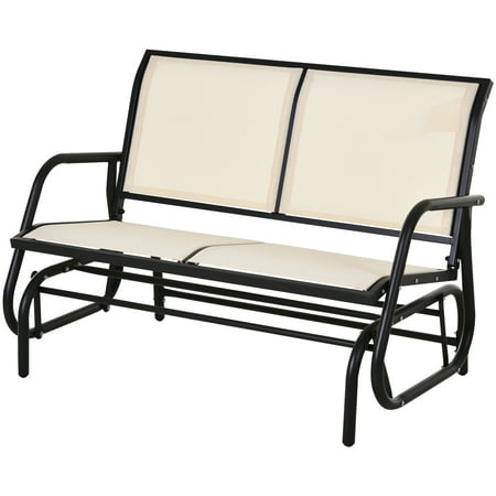 Outsunny Outdoor Double Rocking Chair with a Comfortable Sling Fabric Backing, Steel Frame, & Curved Rocking Arms