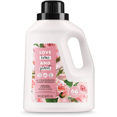 Love Home and Planet Concentrated Laundry Detergent Rose Petal & Mururmuru 50 oz