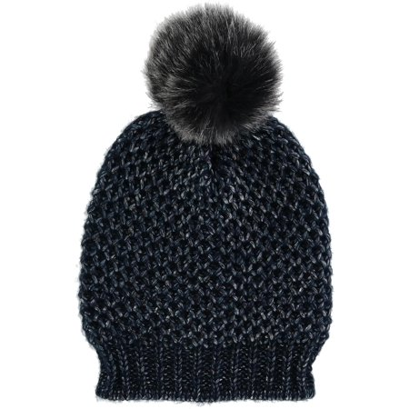 Women's Metallic Lurex Beanie Hat with Pom