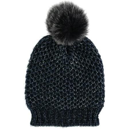Metallic Nylon Hat - Women's Metallic Lurex Beanie Hat with Pom