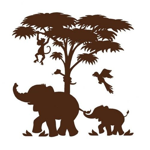 Elephants On The Wall Large Silhouette Safari  Wall Mural Part 2
