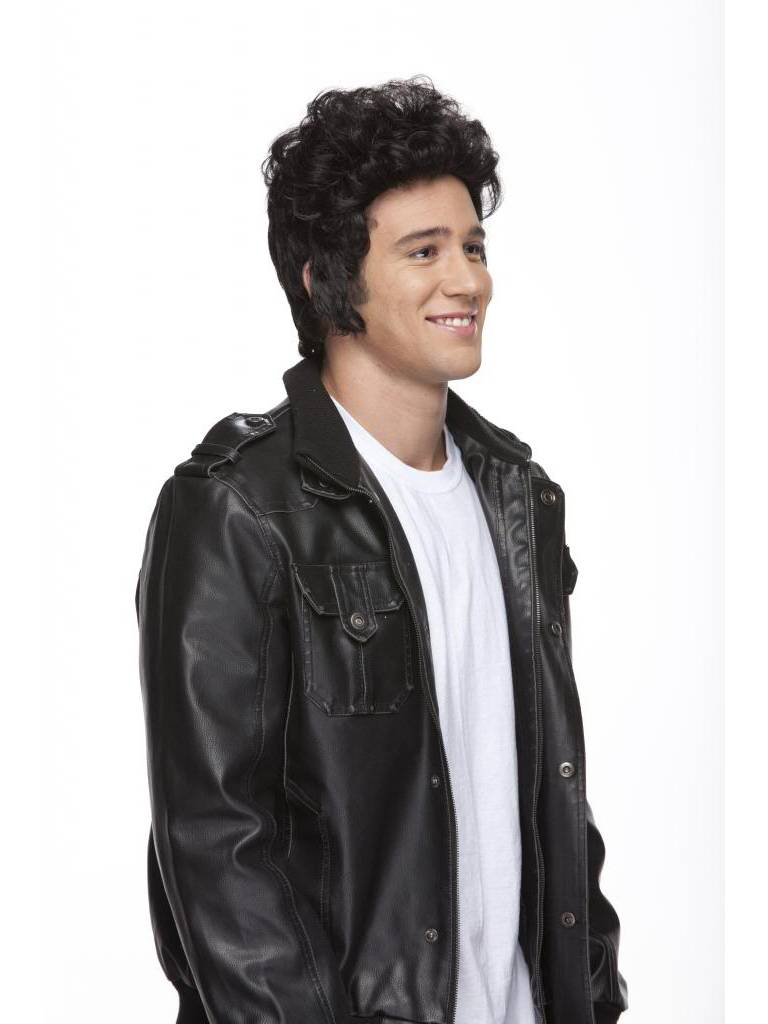 mens rock n roll black synthetic costume wig