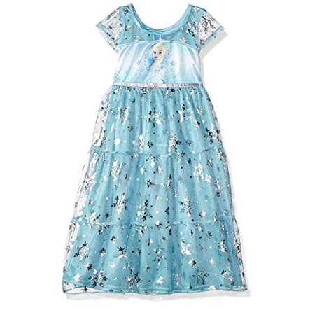 Disney Big Girls' Fantasy Nightgowns, Frozen Elsa Snowy Cerulean, 8 (Elsa Frozen Gown)