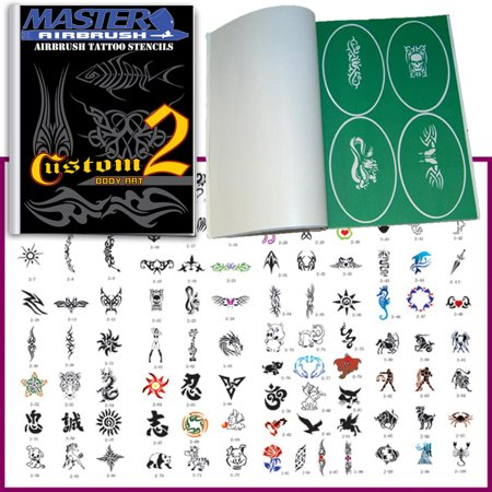 SET 2 BOOK 100 Reusable Airbrush Temporary Tattoo Stencil Art Designs Templates Airbrush Stencil Set