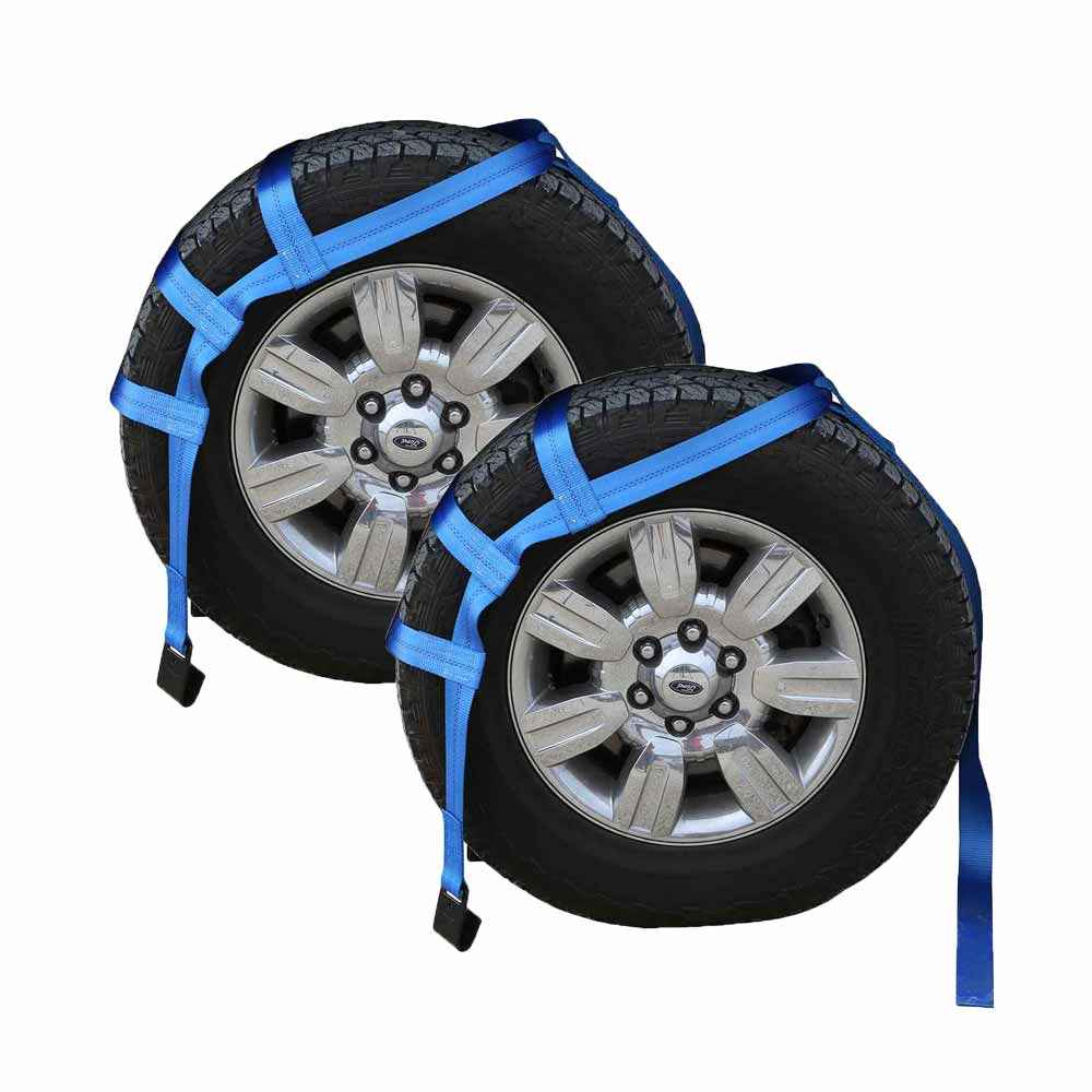 Blue Extra Large Tow Dolly Basket Strap with Flat Hooks - 2 pack
