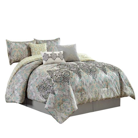 Woven Paisley Scroll - Chezmoi Collection Bombay 7-Piece Medallion Paisley Scroll Embroidered Comforter Set
