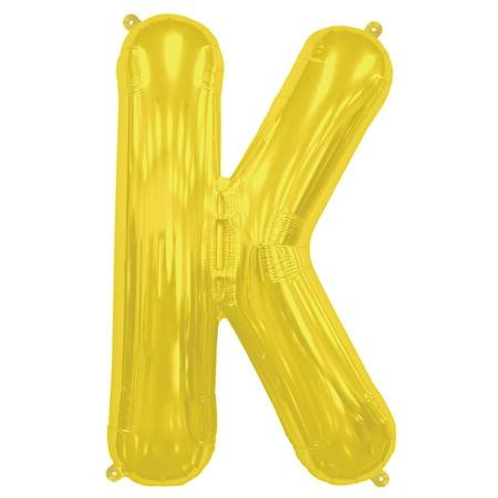 "Northstar Alphabet Letter K Shape Solid Air-Fill 16"" Foil Balloon, Gold"