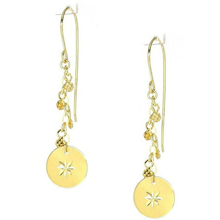 American Designs 14kt Yellow Gold Diamond-Cut Disk Round Circular Dangle and Drop Chain Earrings, French -