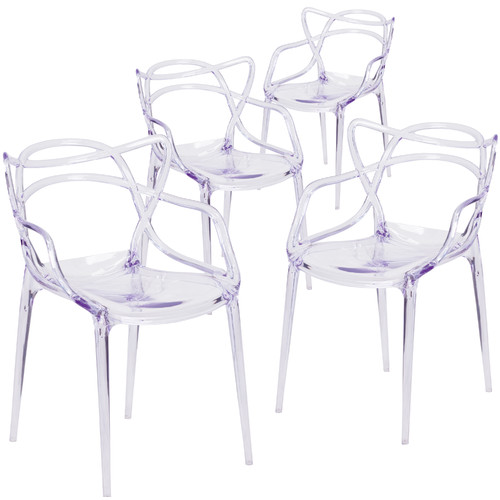 Flash Furniture Nesting Series Transparent Stacking Chair (Set of 4)