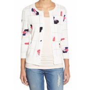 Halogen NEW White Pink Floral Print Medium PM Petite Cardigan Sweater $46