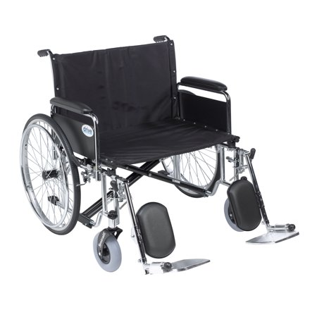 Wide Detachable Full Arms - Drive Medical Sentra EC Heavy Duty Extra Wide Wheelchair, Detachable Full Arms, Elevating Leg Rests