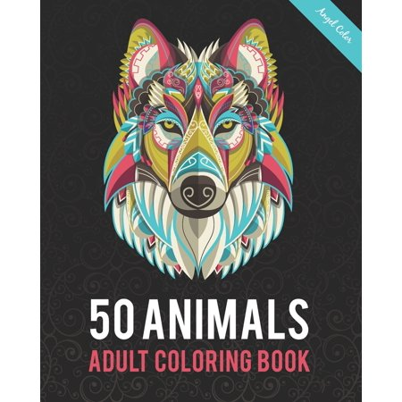 50 Animals Adult Coloring Book : Color Lion, Wolf, Bird, Horse, Cat, Dog, Owl, Elephant, and Many More (Paperback)