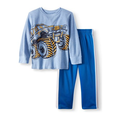 Garanimals Long Sleeve Thermal Shirt & Tricot Pants, 2pc Outfit Set (Toddler Boys)