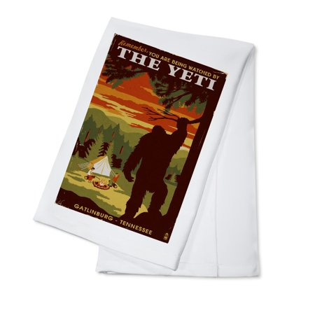 Gatlinburg, Tennesseee  - You're Being Watched By The Yeti - Lantern Press Artwork (100% Cotton Kitchen Towel)