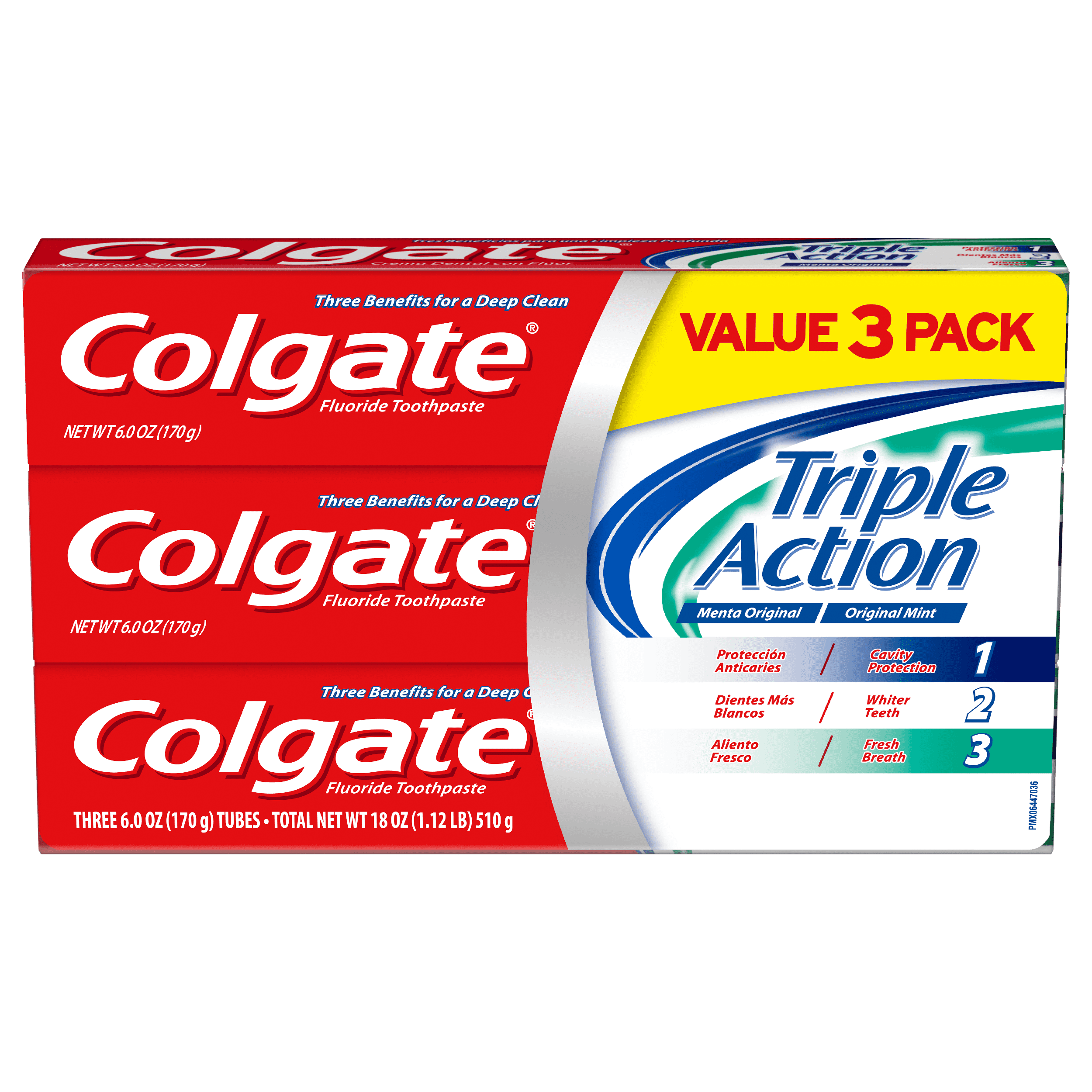 Colgate Triple Action Toothpaste Mint 6 Ounce 3 Pack Walmart