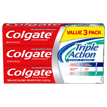 Colgate Triple Action Toothpaste, Mint - 6 Ounce, 3