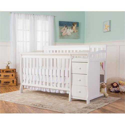 Dream on Me Brody 4-in-1 Convertible Fixed-Side Crib with Changer, White
