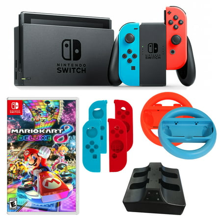 Nintendo Switch in Neon with Mario Kart Game and