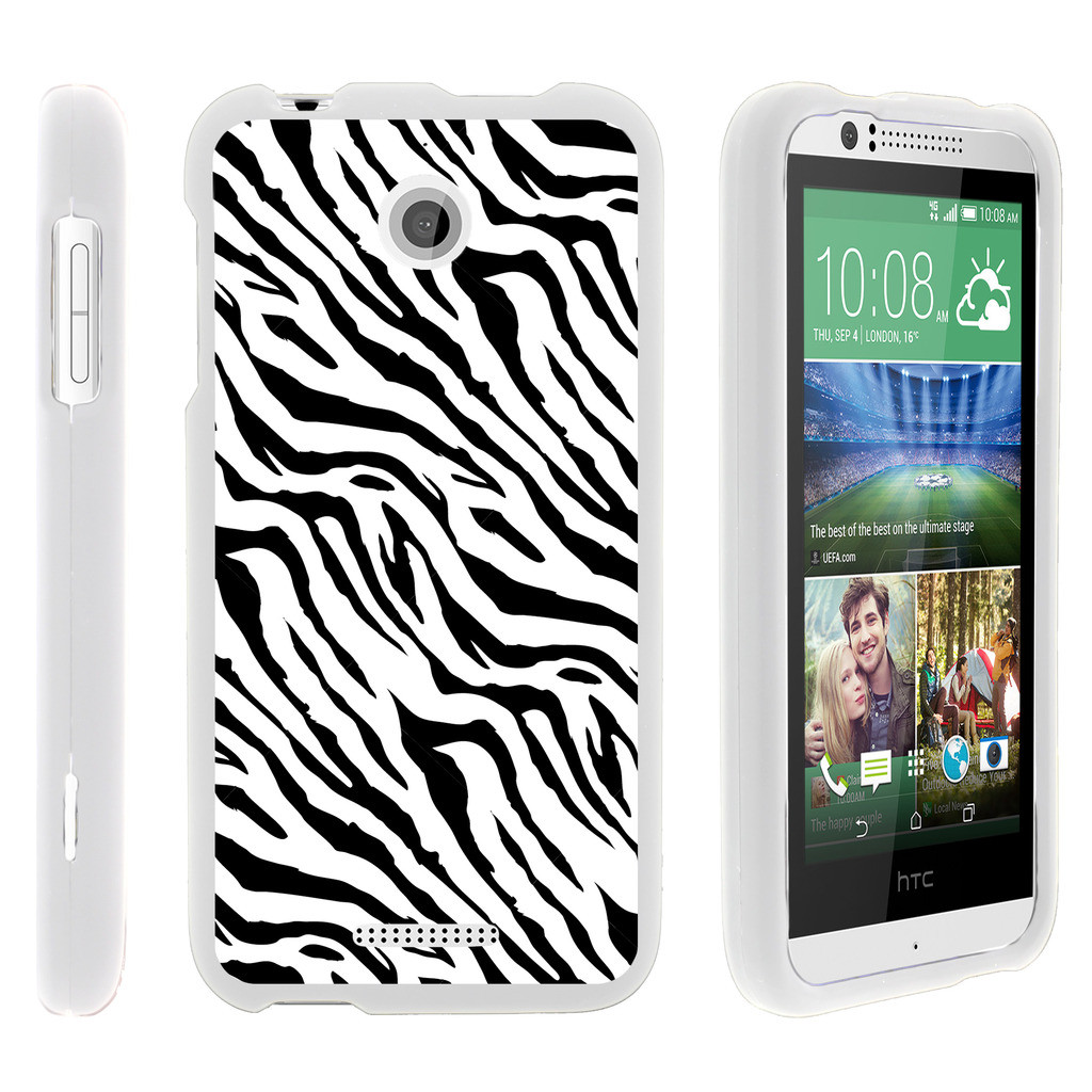 HTC Desire 510, [SNAP SHELL][White] 2 Piece Snap On Rubberized Hard White Plastic Cell Phone Case with Exclusive Art - Zebra Pattern
