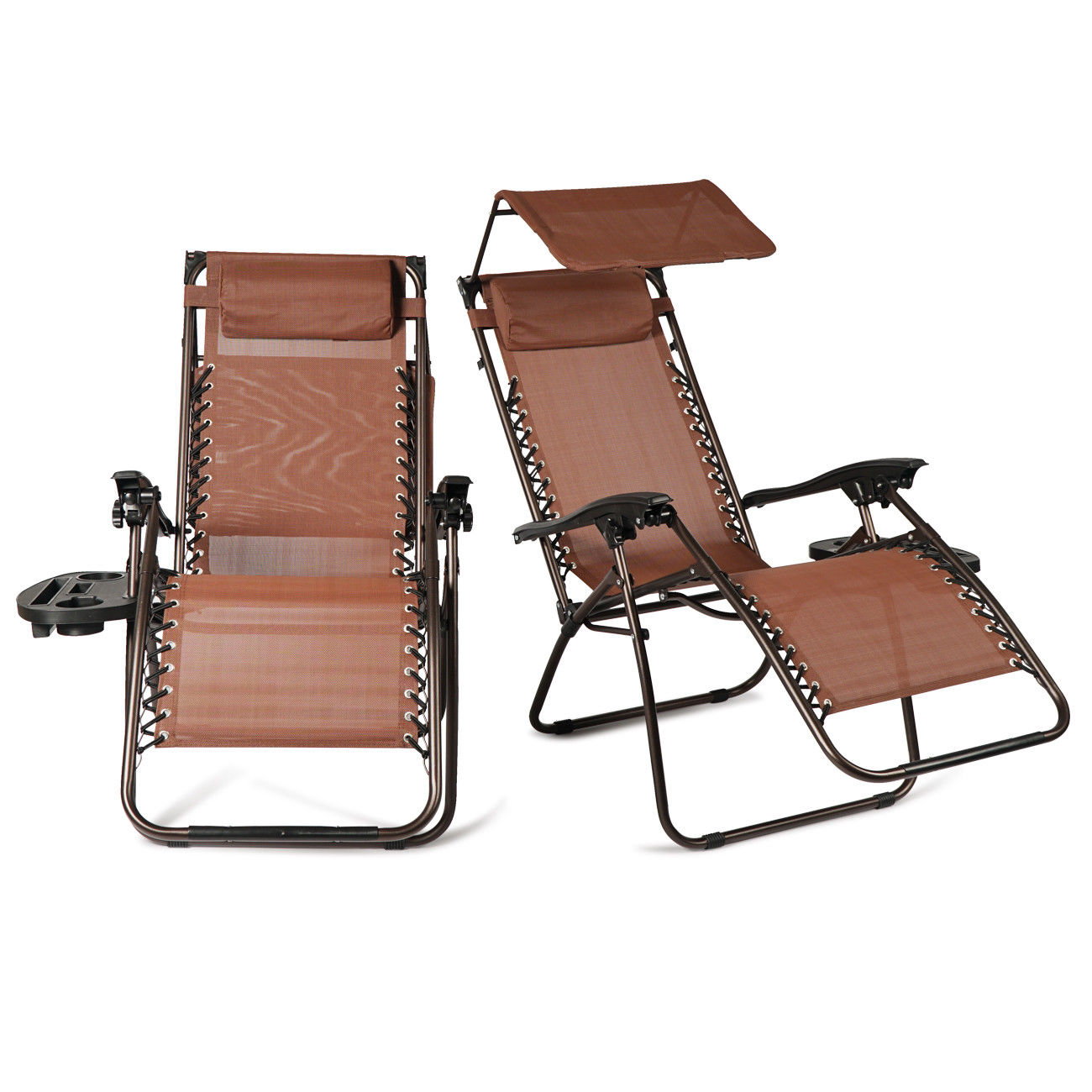 GHP 2-Pcs 600D UV-Resistant Brown Recliner Lounge Chair with Cup Holder & Canopy