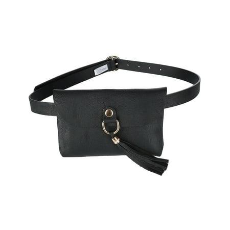 - Size one size Flap Front Tassel Waist Pack Belt Bag, Black