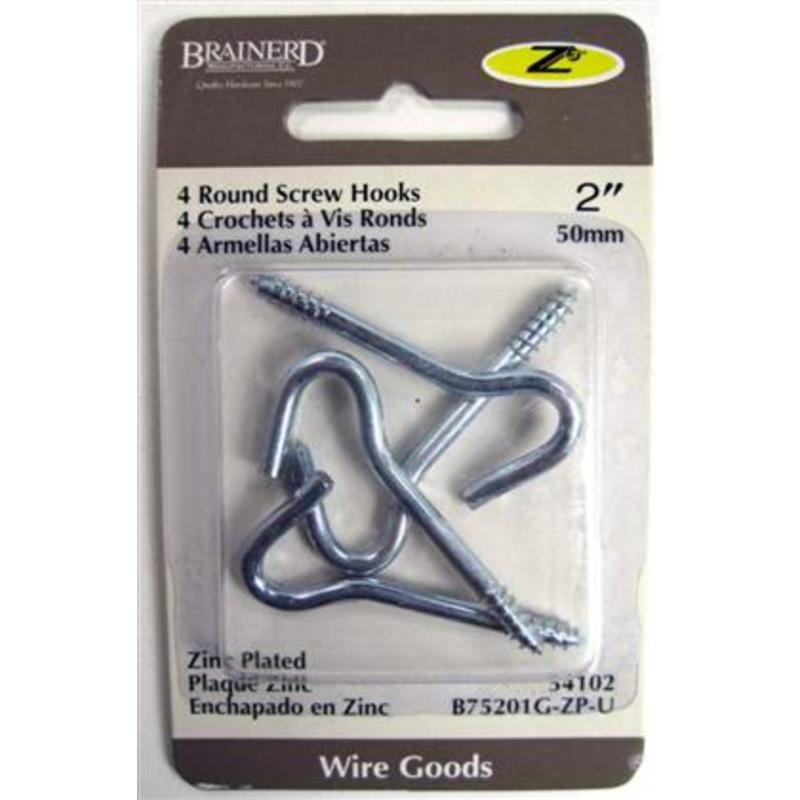 "Brainerd 2"" Zinc Ceiling Screw Hook 4Pk 54102 Brainerd 54102 022788541025"