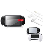 Insten White Hand Grip+Clear LCD Protector+White/Silver Headset For Sony PS