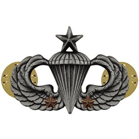 Army Senior Combat Parachute 2nd Award Badge (Oxidized Finish)