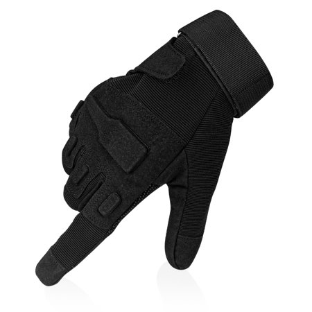 Full Finger Tactical Gloves -Black (L) Anti-Skid Protective Gear w/ Knuckle Paddings for Motorcycle Airsoft Military Combat Army Training Outdoor