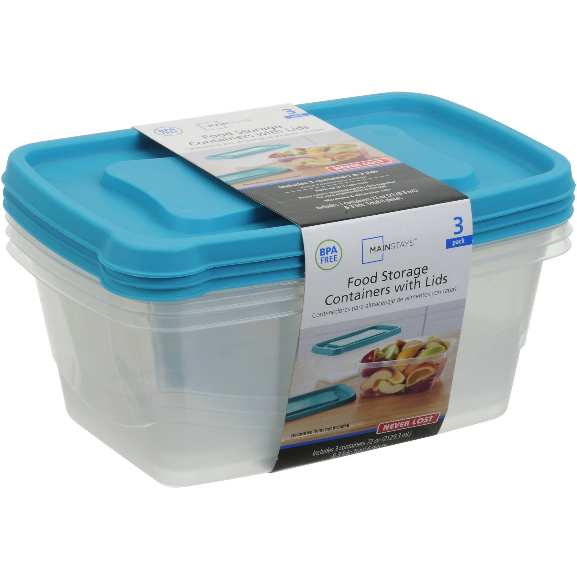 Mainstays 9 Cup Rectangular Food Storage Containers, 3pk