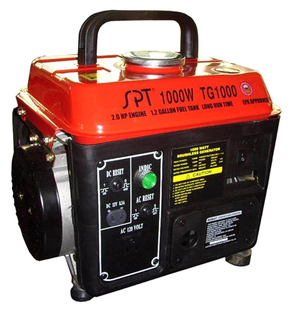 SPT Appliance 1000W 2.0 HP 1.2 Gal Gasoline Generator w 2...