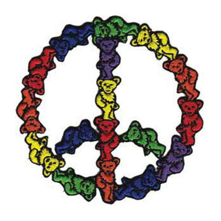 Grateful Dead Men's Bear Peace Sign Embroidered Patch -
