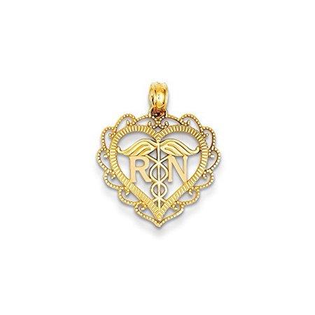 14K Yellow Gold Registered Nurse (R.N) Heart Charm Pendant MSRP $168 (14k Registered Nurse Pendant)
