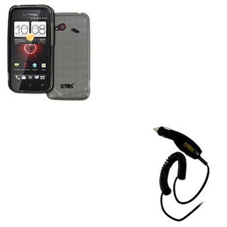 Empire Smock (EMPIRE HTC DROID Incredible 4G LTE Poly Skin Case Cover (Smoke Diamond Pattern) + Car Charger [EMPIRE)