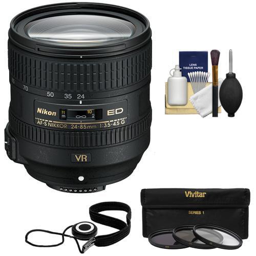 Nikon 24-85mm f/3.5-4.5G VR ED AF-S Nikkor-Zoom Lens + 3 UV/FLD/CPL Filters Kit for D3200, D3300, D5300, D5500, D7100, D7200, D750, D810 Cameras